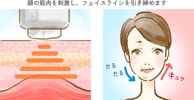 表情筋など顔の筋肉にアプローチし、刺激を与え筋肉を動かす